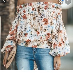 Off the shoulder floral top; NEVER WORN